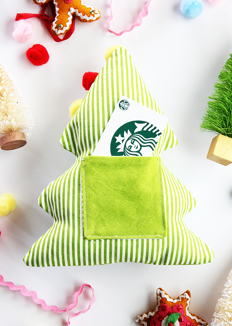 DIY Fabric Christmas Tree Gift Card Holder Free Sewing Patterns