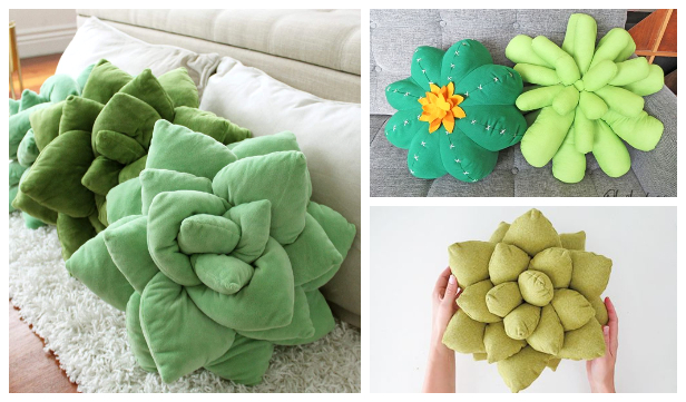 DIY Fabric Succulent Pillow Free Sewing Patterns