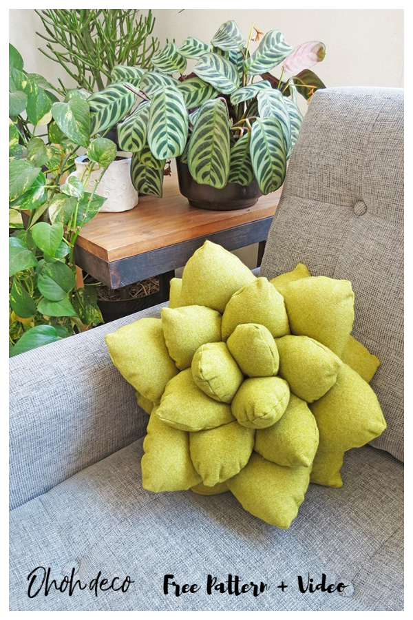 DIY Fabric Succulent Pillow Free Sewing Pattern + Video