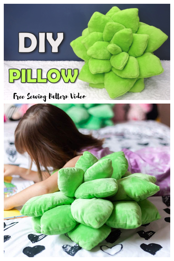 DIY Fabric Succulent Pillow Free Sewing Patterns Video