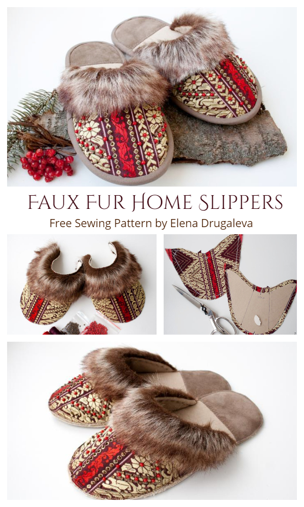 DIY Russian Style Cozy Faux Fur Home Slippers Free Sewing Patterns