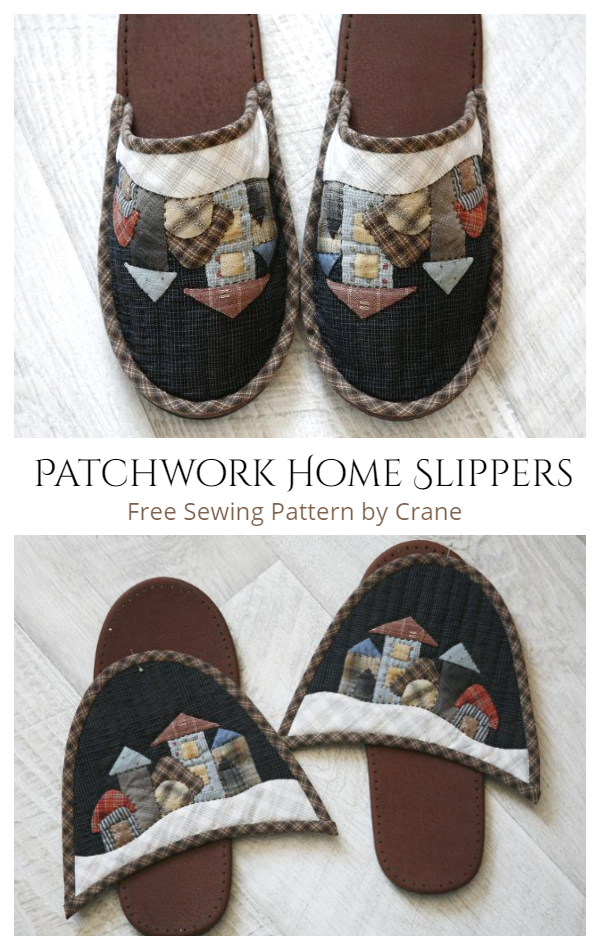 DIY Fabric Patchwork Home Slippers Free Sewing Patterns