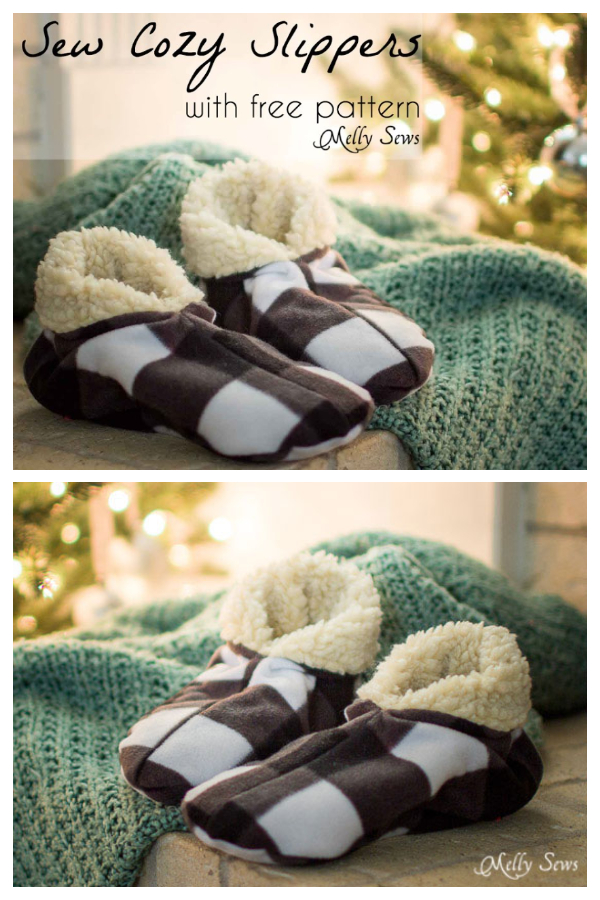 DIY Fabric Winter Slippers Free Sewing Patterns