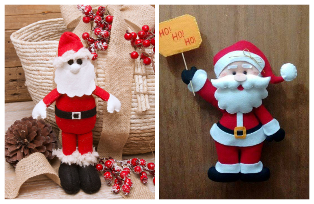 DIY Felt Santa Ornament Free Sewing Patterns