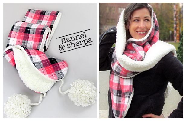 DIY Flannel and Sherpa Scarf Free Sewing Pattern
