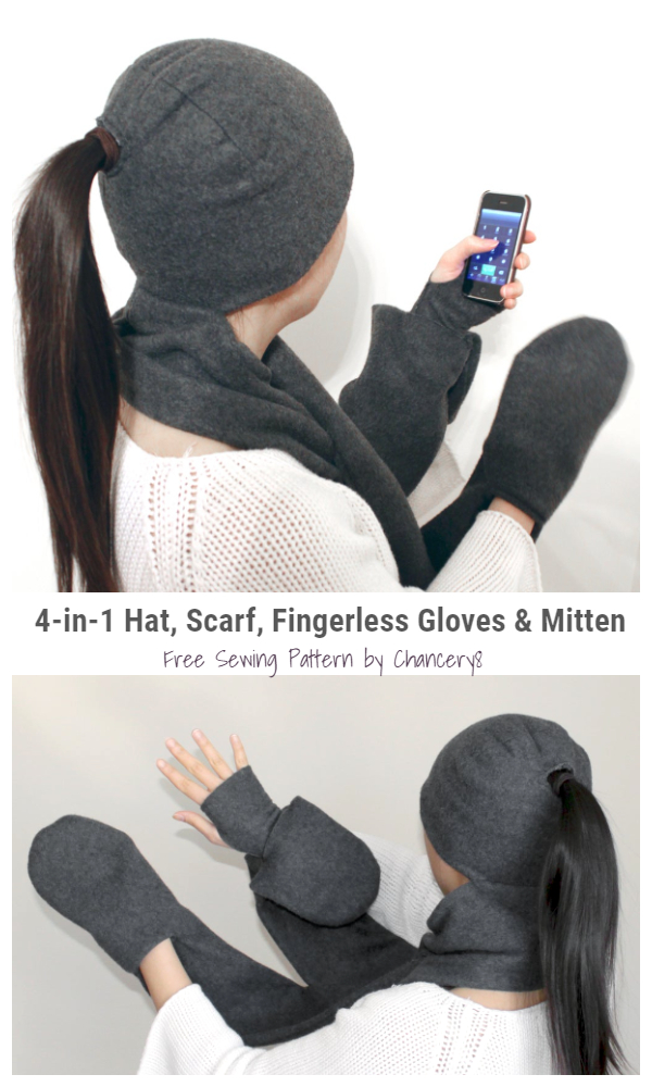 DIY Hat Glove Pocket Scarf Combo Free Sewing Pattern