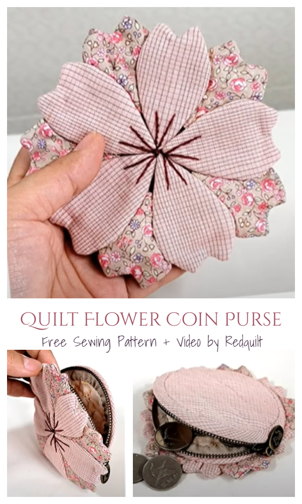 DIY Quilt Flower Coin Purse Free Sewing Pattern + Video
