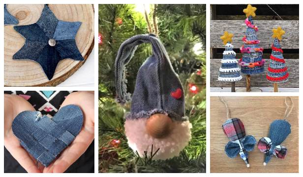 Upcycled Denim Jean Christmas Crafts DIY Tutorials