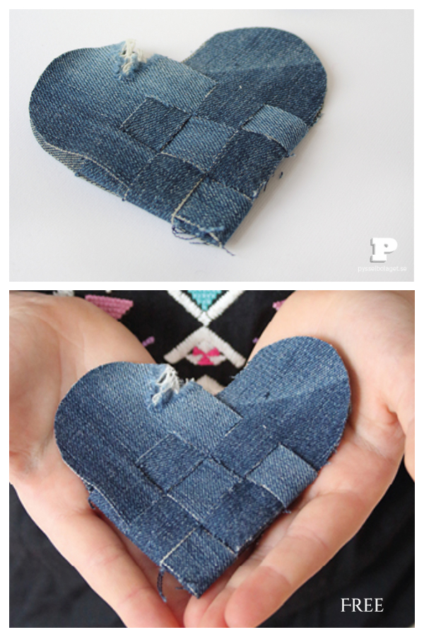 Upcycled Denim Jean Braided Hearts DIY Tutorials