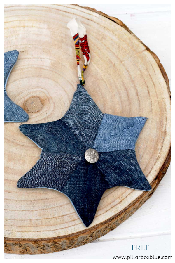 Upcycled Denim Jean Christmas Patchwork Quilted Stars DIY Tutorials