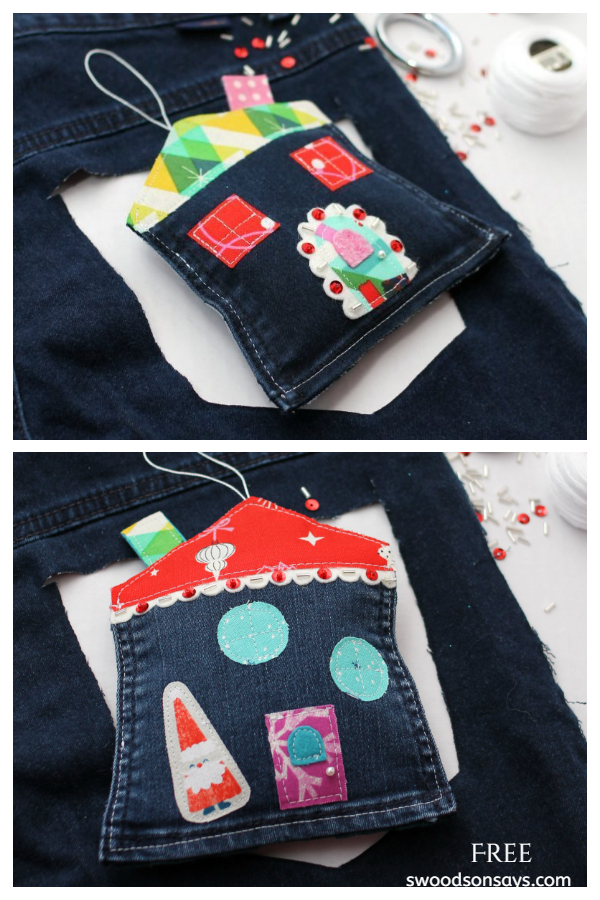 Upcycled Denim Jean Pocket Ornament Christmas Crafts DIY Tutorials