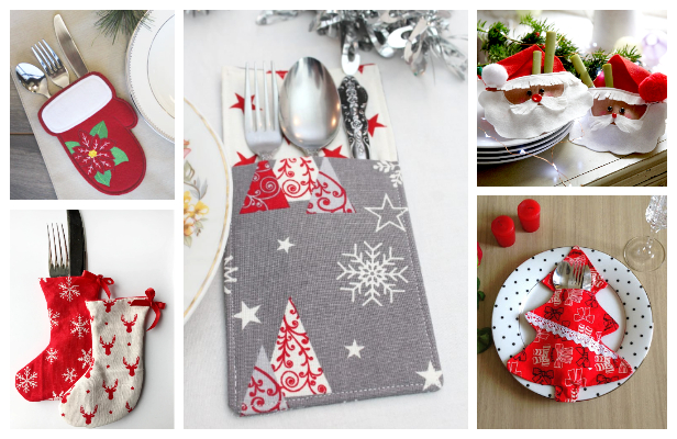DIY Fabric Christmas Cutlery Holder Free Sewing Patterns