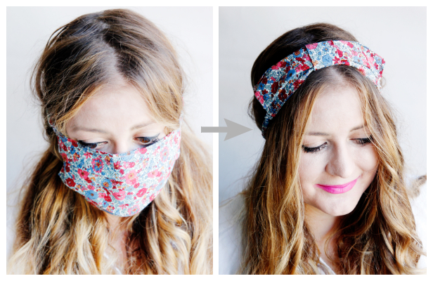 DIY Convertible Fabric Headband Mask Free Sewing Pattern & Tutorial