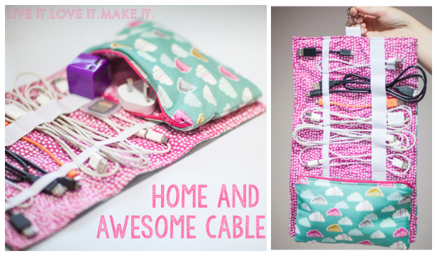 DIY Fabric Cable Cozy Clutch Free Sewing Pattern