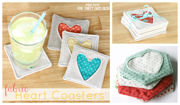 DIY Fabric Heart Coaster Free Sewing Patterns