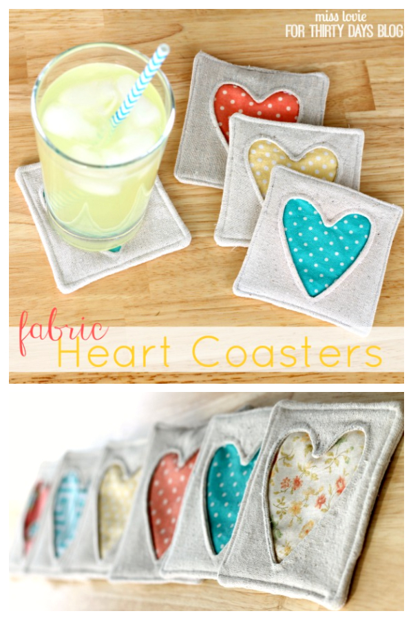 DIY Simple Fabric Heart Coasters Free Sewing Patterns