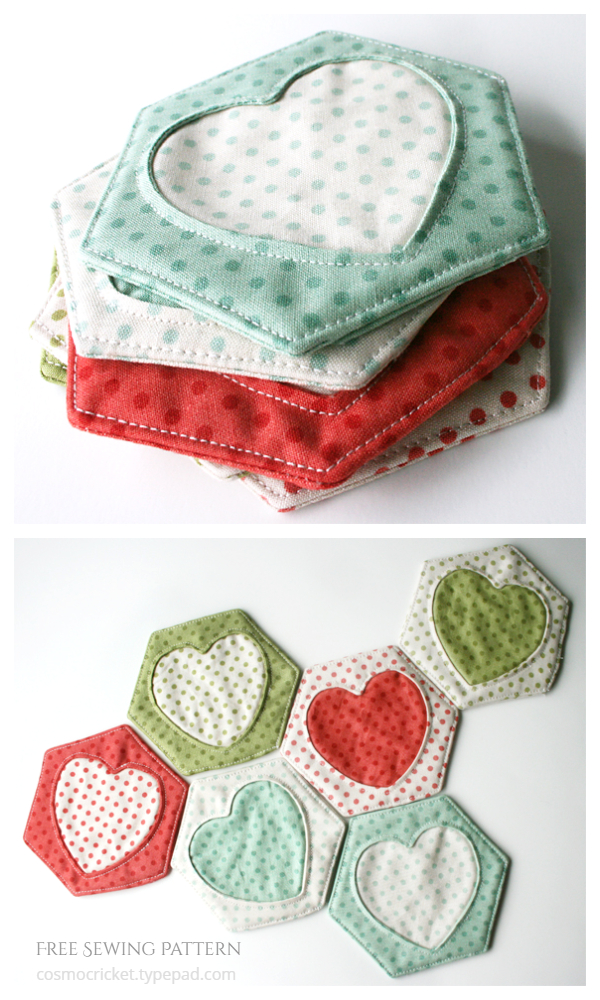 DIY Fabric Hex and Heart Coasters Free Sewing Patterns