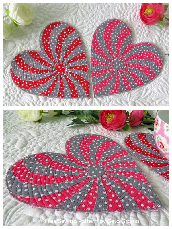 DIY Fabric Heart Pattern for Coasters Free Sewing Patterns