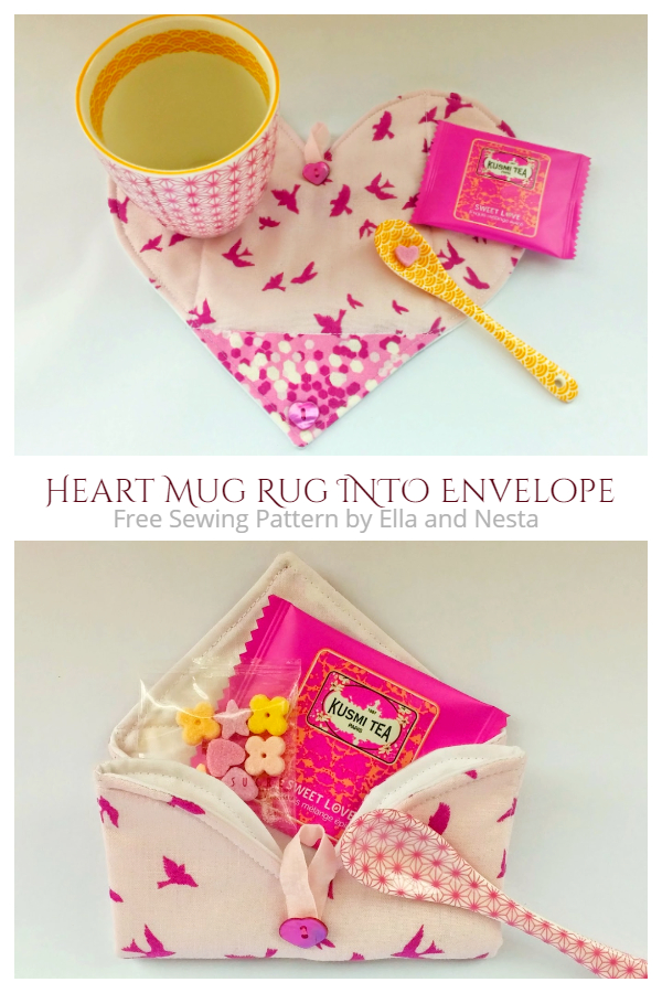 DIY Fabric Folding Envelope Heart Mug Rug Free Sewing Patterns