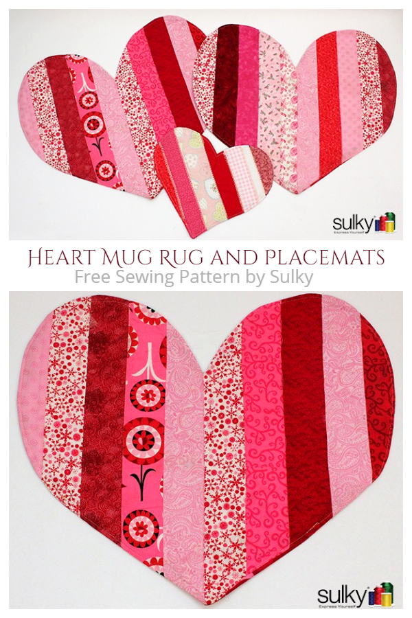 DIY Fabric Heart Mug Rug Free Sewing Patterns