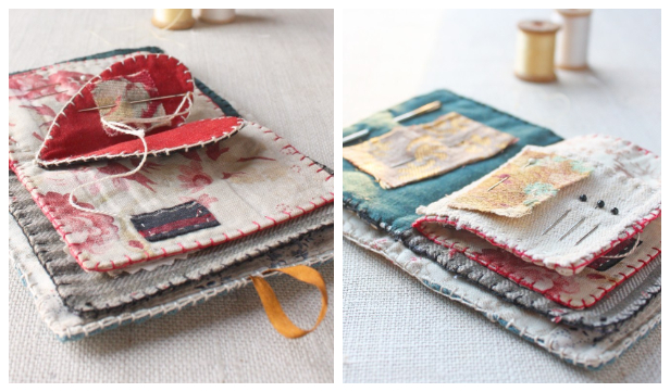 DIY Fabric Heart Needlebook Free Sewing Pattern