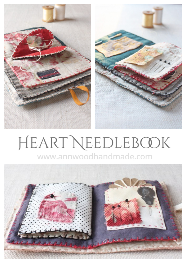 DIY Fabric Heart Needlebook Free Sewing Pattern
