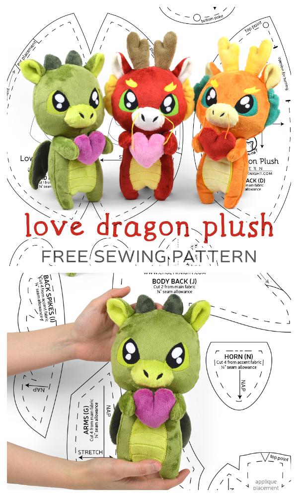 DIY Fabric Love Dragon Plush Free Sewing Pattern