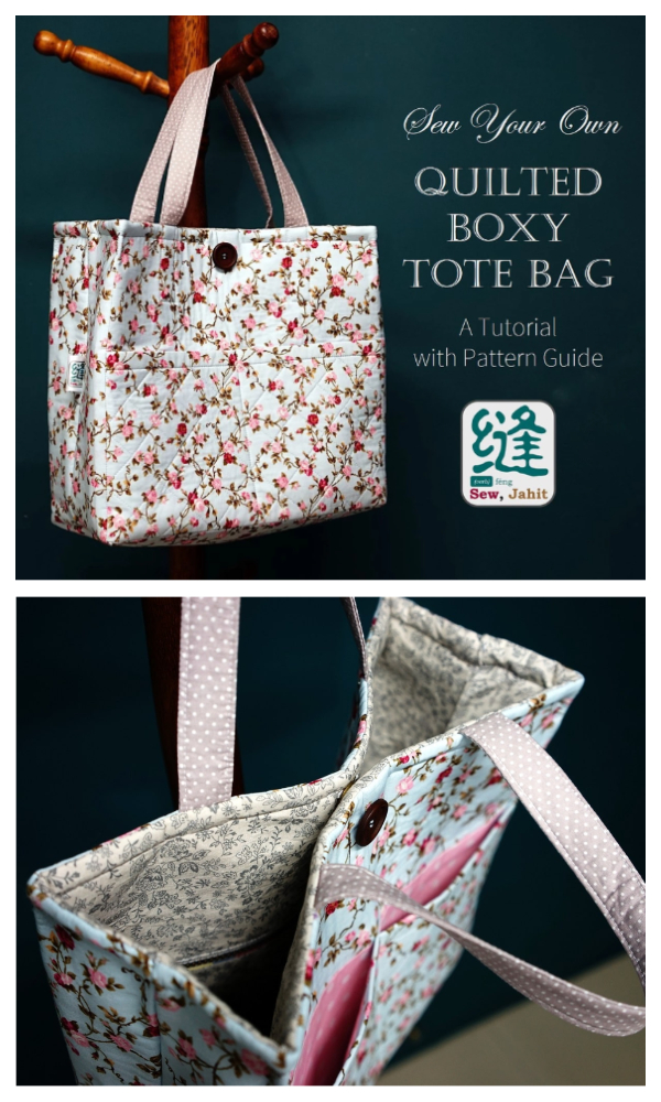 DIY Fabric Quilted Boxy Tote Bag Free Sewing Pattern