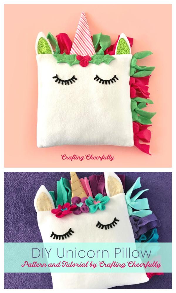 DIY Fleece Unicorn Pillow Free Sewing Patterns
