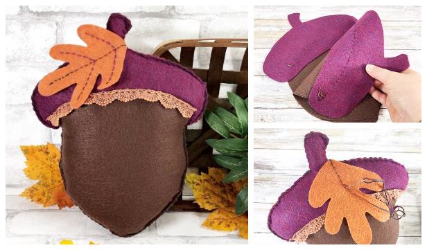 DIY Felt Acorn Pillow Free Sewing Patterns