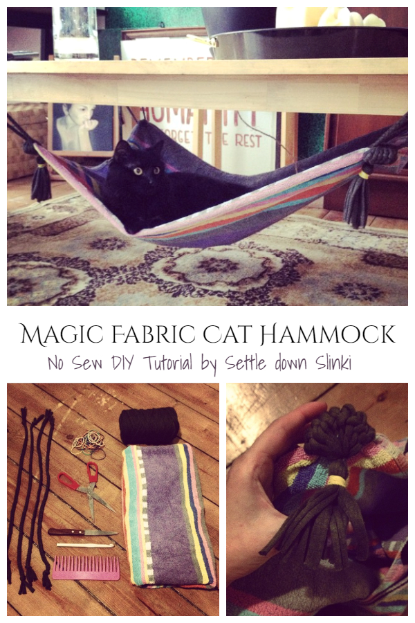 No Sew Magic Fabric Cat Hammock DIY Tutorial