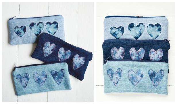 Recycled Denim Heart Pencil Pouch Free Sewing Pattern