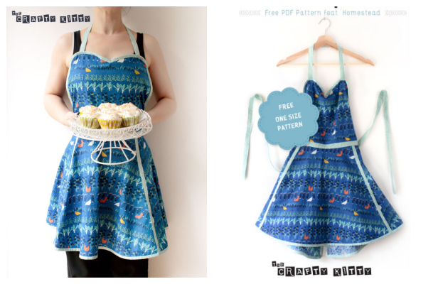 Sweetheart Neckline Retro Apron Free Sewing Pattern