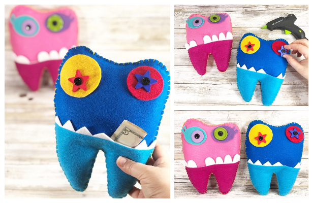 DIY Felt Tooth Fairy Monster Pillow Free Sewing Pattern & Tutorial