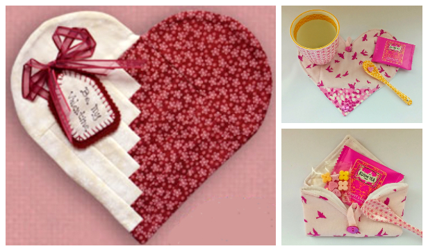DIY Fabric Cabin Log Heart Mug Rug Free Sewing Patterns