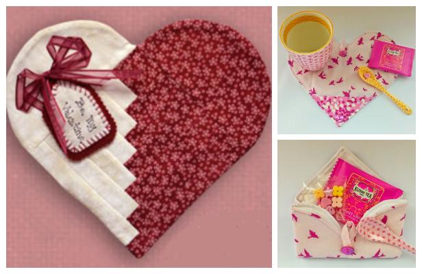 DIY Fabric Heart Mug Rug Free Sewing Patterns