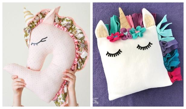 DIY Fabric Unicorn Pillow Free Sewing Patterns