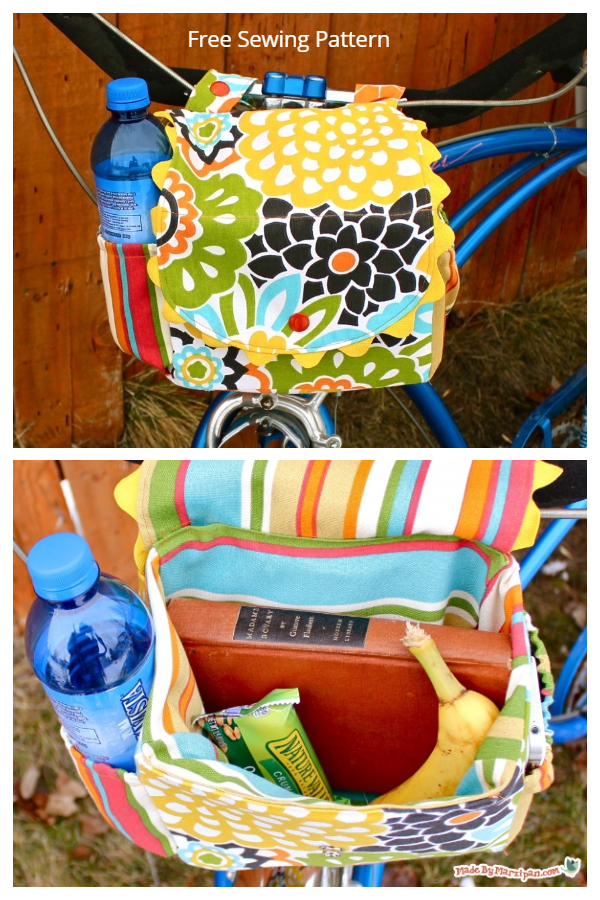 DIY Fabric Bike Satchel with Water Bottle Pockets Free Sewing Patterns