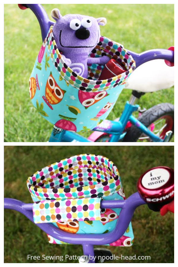 DIY Fabric Bike Handlebar bucket Free Sewing Patterns