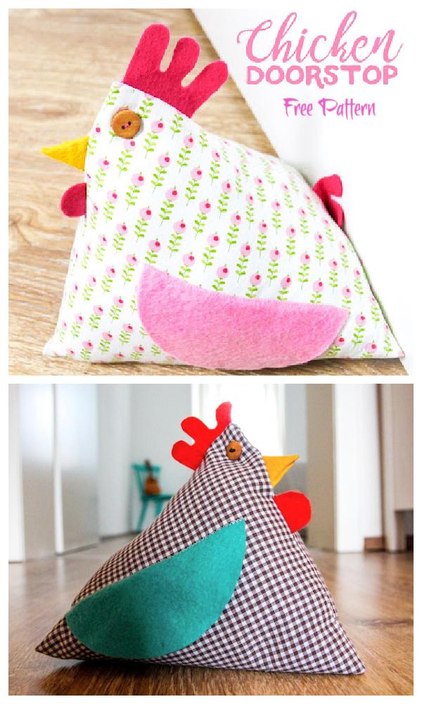 DIY Fabric Happy Chicken Doorstop Free Sewing Patterns