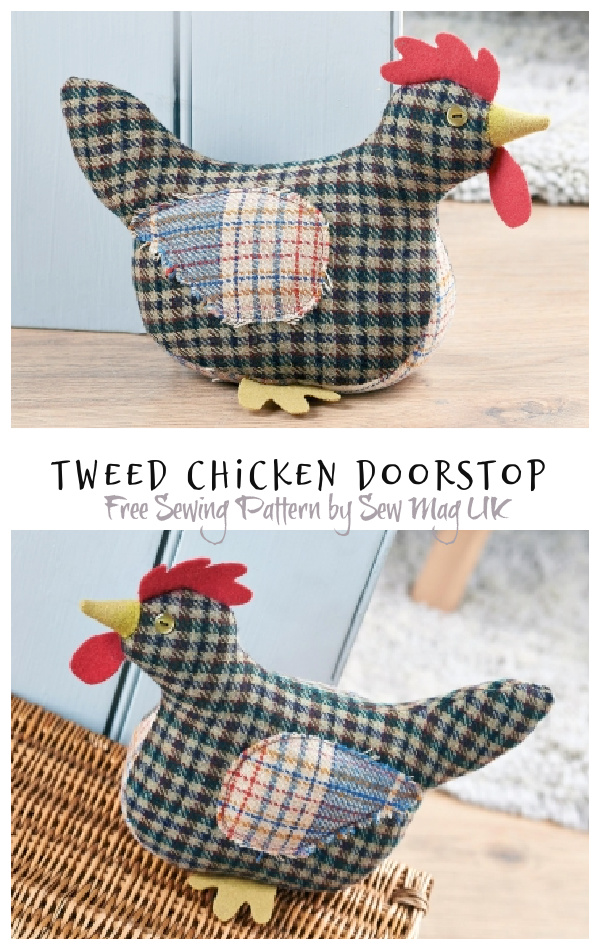 DIY Fabric Tweed Chicken Doorstop Free Sewing Patterns