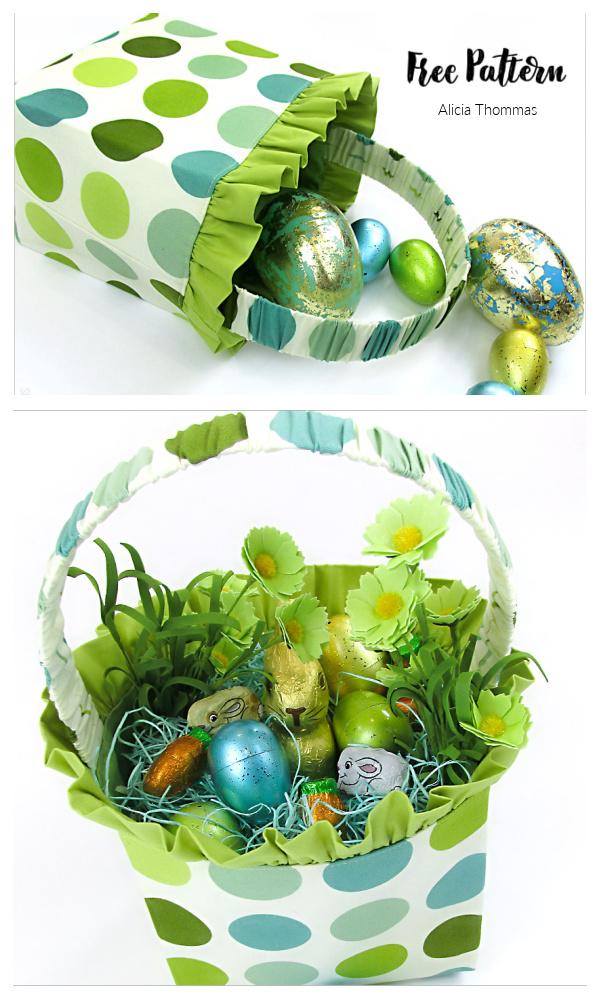 DIY Ruffled Fabric Easter Basket Free Sewing Pattern