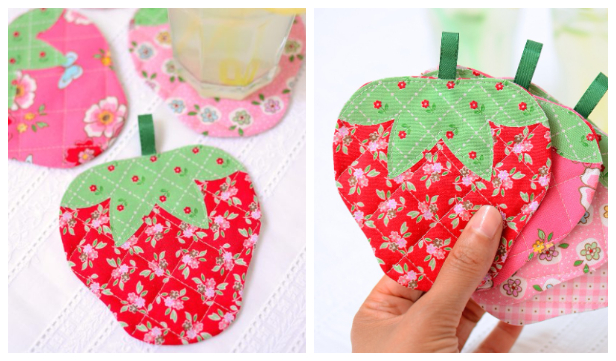 DIY Fabric Strawberry Coaster Free Sewing Patterns