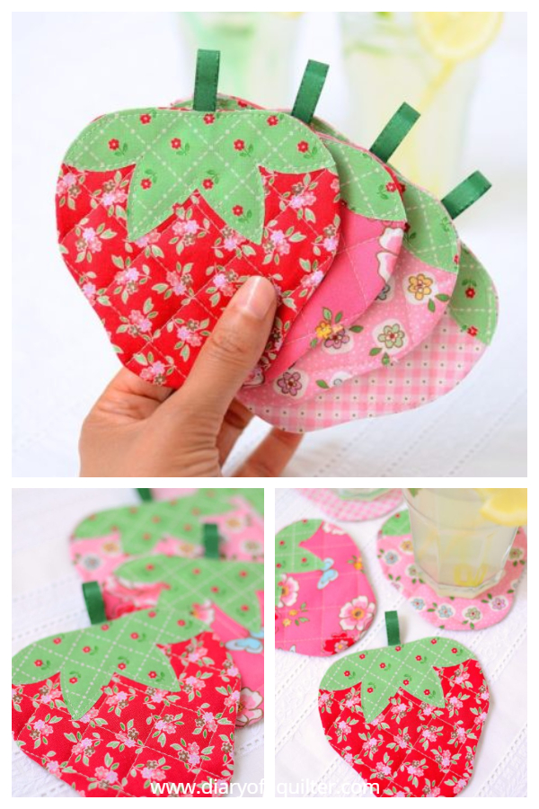 Quilted Strawberry Coaster Free Sewing Patterns