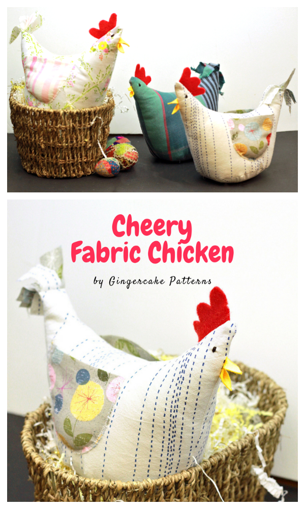 DIY Fabric Toy Cheery Chicken Free Sewing Pattern