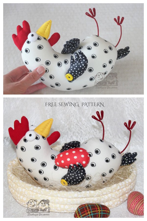 DIY Fabric Easter chicken in a Basket Free Sewing Pattern