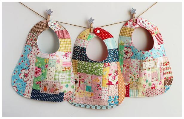 DIY little Patchwork Baby Bib Free Sewing Patterns