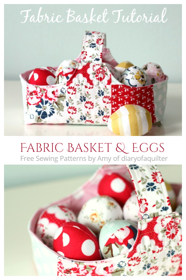 DIY Fabric Easter Basket with Eggs Free Sewing Pattern