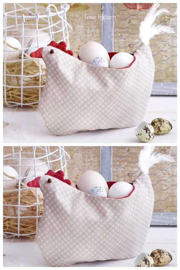 DIY Fabric Egg Hen Basket Free Sewing Pattern