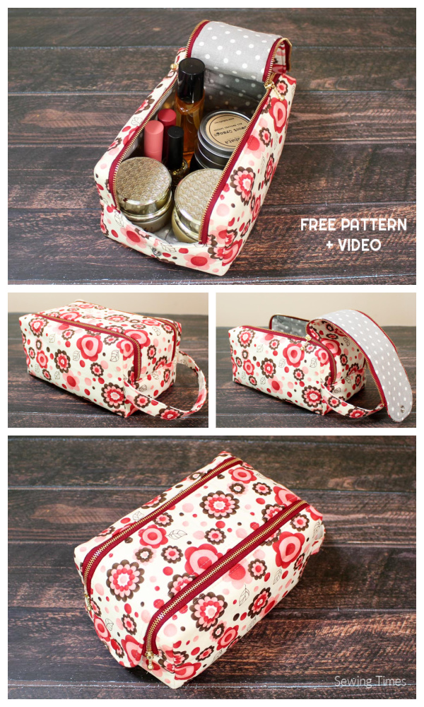 DIY Double Zip Fabric Travel Pouch Free Sewing Pattern + Video